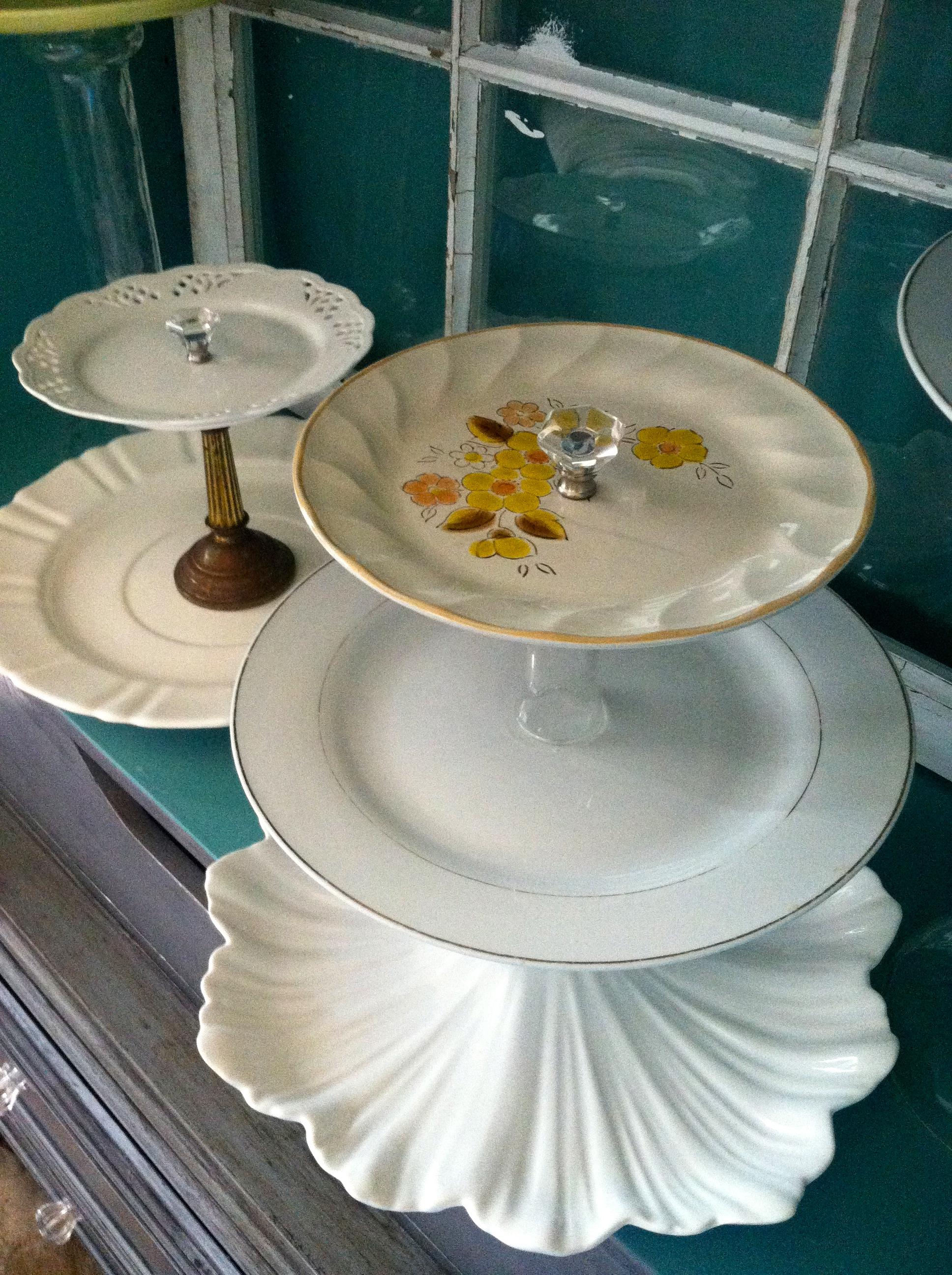 Cake Stands Made From Vintage Plates Candle Sticks And