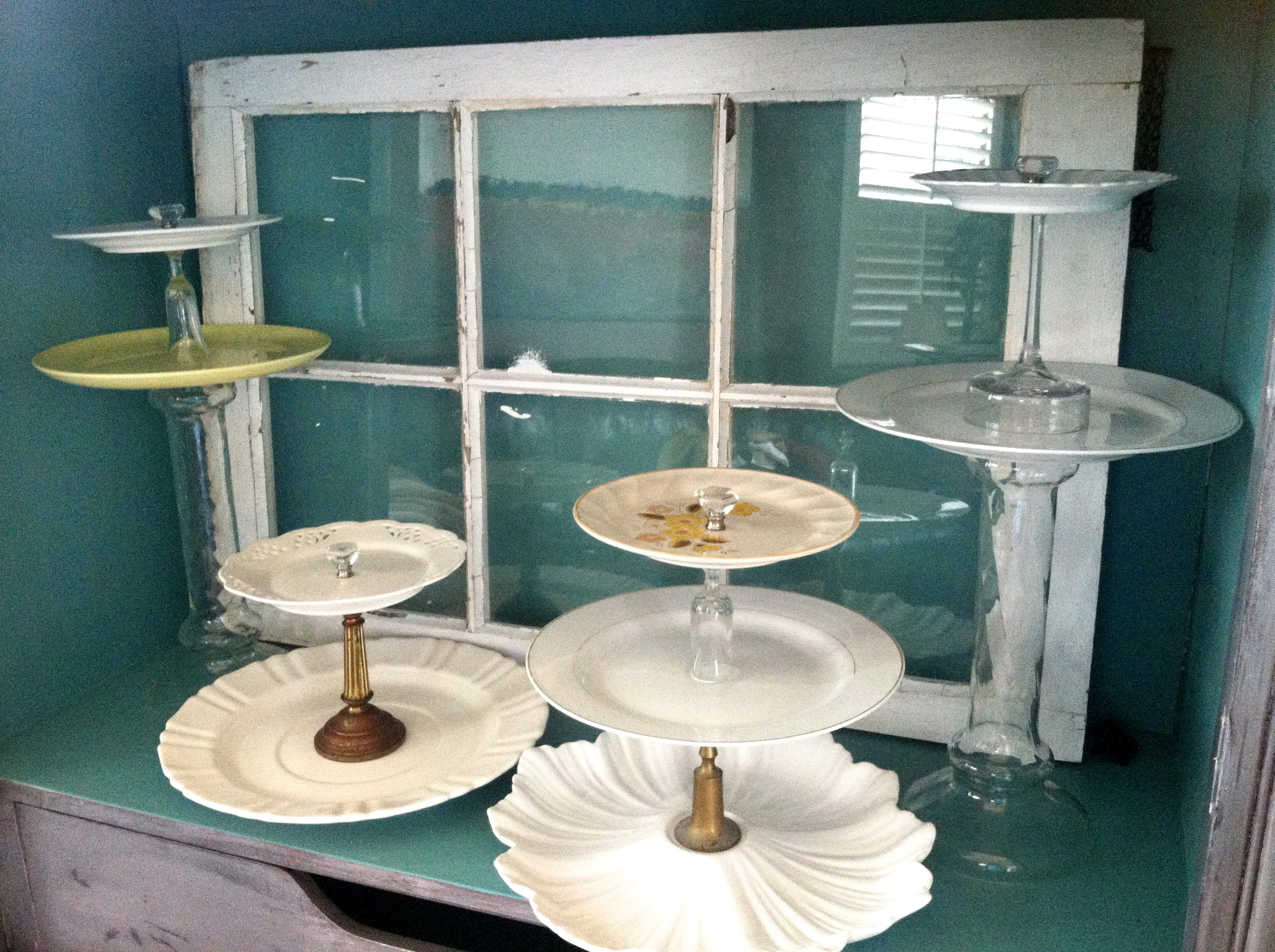 What ... & Cake Stands made from Vintage plates candle sticks and wine ...