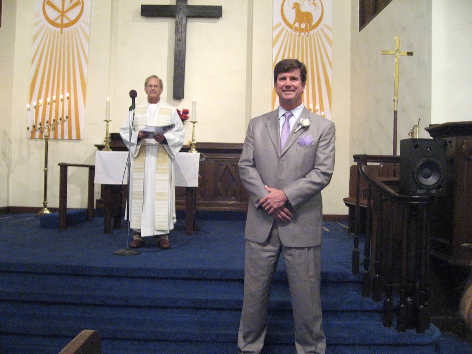 Here is my dad in his silver suit anxiously awaiting his bride. The ceremony took place at La Jolla Lutheran Church.